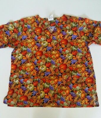 48616c12b29 Cottonality Scrub Top Fall Harvest Thanksgiving Double Pockets Front - 1X