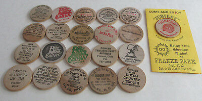 21 Different Vintage wooden nickels, Ohio & Indiana 1950s-80s, Wood Nickels