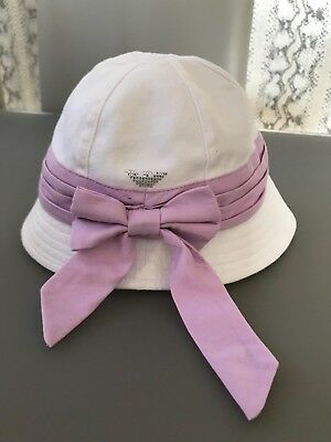 Armani Junior Baby Girls Summer Hat With Lilac Bow - Size S - Age 1-3 Years