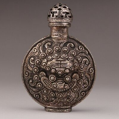 Tibet silver snuff bottle old Chinese exorcising pattern collection