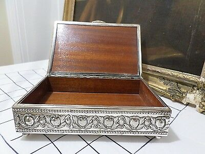 Antique Cigar Box, Silver Plated, Made in Spain by Al-Cor, Gorgeous Design