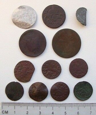 Lot of 12 Different Medieval Post Medieval Silver Copper Coins M