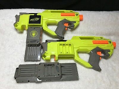 Lot of 2 NERF Rayven CS-18 Motorized Blaster Toy Gun Guns