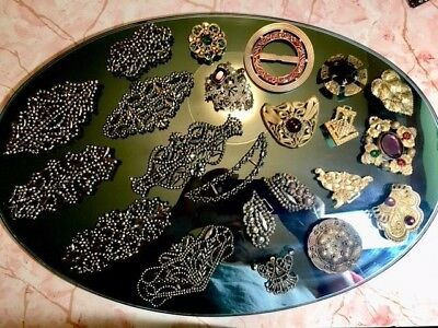 LOVELY Lot Vintage Antique Cut Steel Jeweled Victorian Buckles & Embellishments