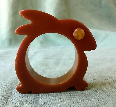 Vintage Bakelite Bunny Rabbit Napkin Ring Novelty Animal