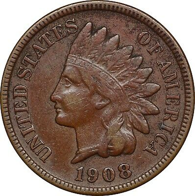 1908 S Indian Head Cent, 1C, VF, Very Fine