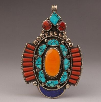 Nepalese style Tibetan silver turquoise pendant old lady decoration