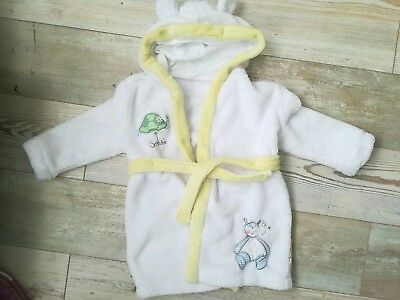Holiday Embroidered Soft Baby Bath Robe Dressing Gown Boy Girl 9-12 Mothercare