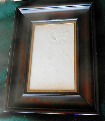 Scarce Antique Folk Art 1860s Pinprick Picture of Flower Signed Dated