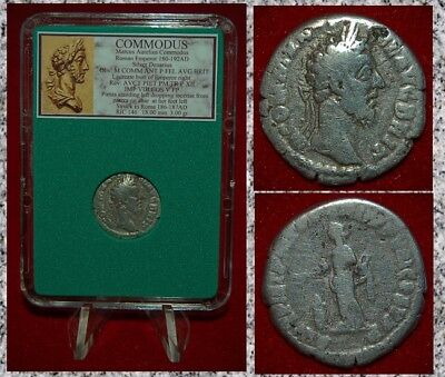 Ancient Roman Empire Coin COMMODUS Pietas Emperor Gladiator Silver Denarius