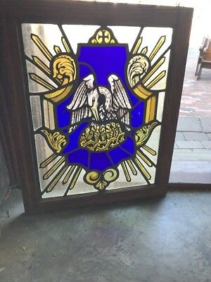 Sg 2381 Antique Painted And Fired Eagle in nest crest window 22 x 27