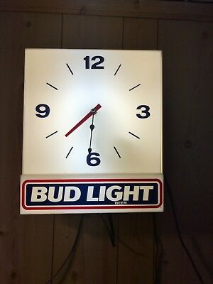 Vintage 1990 BUD LIGHT Beer Wall CLOCK 16X14