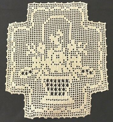 "Four Gorgeous Crochet Placemats Bridal Floral Basket Pattern, 11 1/2"" x 10"""