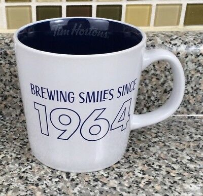 Tim Hortons Brewing Smiles Since 1964 Blue And White Coffee Mug Cup 2017