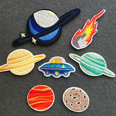 Planet Astronaut UFO Embroidered Sew On Iron On Patch Badge Fabric Clothes Craft