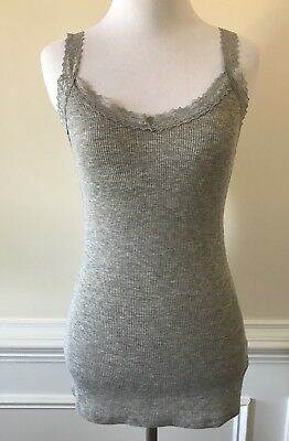 New Anthropologie Eloise Gray Metallic Lace Strap Camisole Top Size S