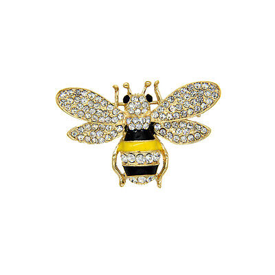 Charms Crystal Bee Brooches Gold Plated Black & Yellow Enamel Brooch Pin Gift