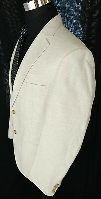 Club Room Classic Textured 2 Button Cotton Linen Blazer Sportcoat Cream Pimp 40R