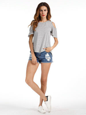 Fashion Sexy Women's T-Shirts Cold Shoulder Casual Loose Long Sleeve Tops Blouse