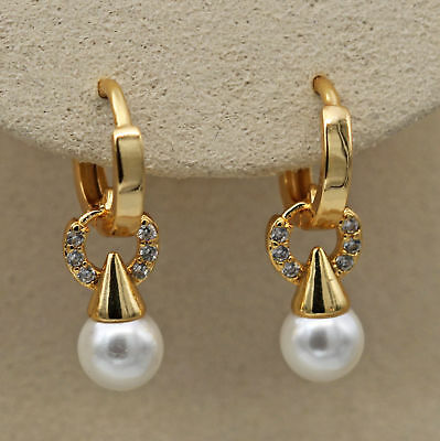 18K Yellow Gold Filled - Hollow Circle Pearl Topaz Zircon Hoop Noble Earrings