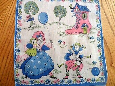 VINTAGE CHILD Handkerchief  Hankie OLD LADY WHO LIVED IN THE SHOE