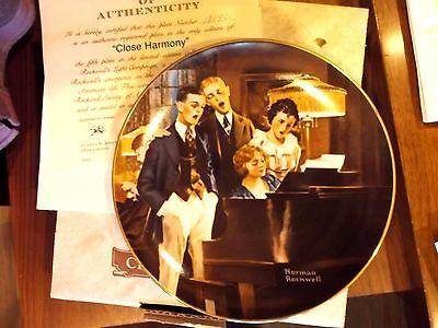 1984 Norman Rockwell Plate Close Harmony Edwin M Knowles China Co