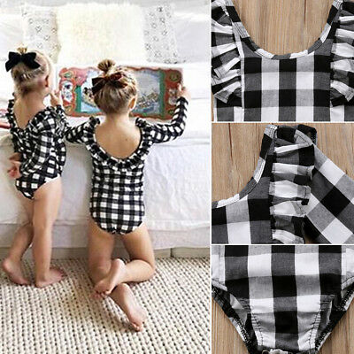 a71127a32 FASHION NEWBORN BABY Girl Plaid Romper Top Jumpsuit Bodysuit Checked ...