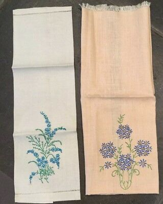 Antique Vintage Embroidered Linen Guest Towels Dainty Flowers. Two one is peach