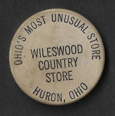 Vintage Wooden Nickel Wileswood Country Store Huron Ohio Unusual Store Pop Corn