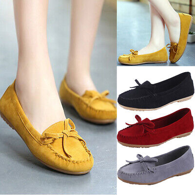Ladies Womens Mom Wide Fit Shoes Suede Flats Bow Moccasins Loafers Pull On Gift
