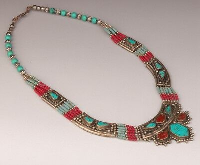 Nepal miaoyin turquoise necklace old sweater chain decoration national style