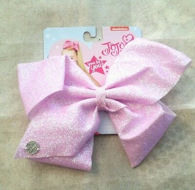 NWT AUTHENTIC SIGNATURE JoJo Siwa LARGE BABY PINK IRIDESCENT SUGAR SPARKLE BOW