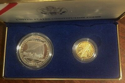 1987 US Constitution 2 coin set Gold$5/Silver $1