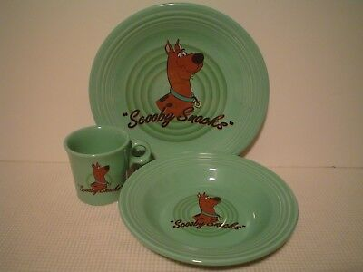 Awesome Scooby Doo 3 Piece Fiesta Ware Pottery Set W/ Cup, Bowl & Plate, Exc!