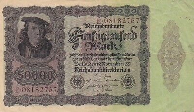 1922 Germany 50,000 Mark Note, Pick 80