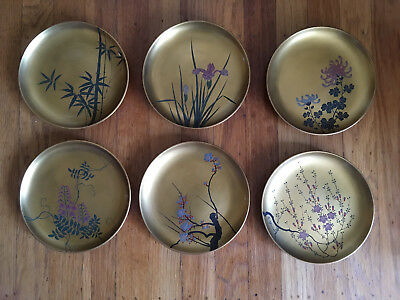 Japanese red and gold hand painted lacquer plates wood flowers antique