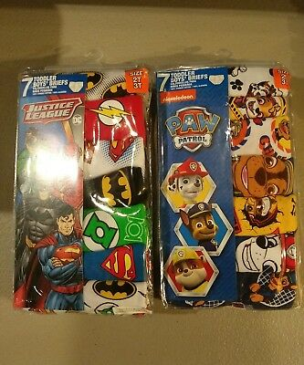 2 Packs Of 7 2T/3T Toddler Boy Character Briefs Justice League & Paw Patrol NIP