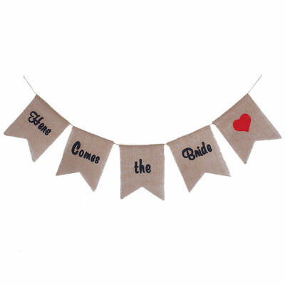 Here Comes the Bride Sign Linen Wedding Bunting Banner G6B1