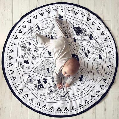 Baby Crawling Floor Rug Kids Children Game Play Mat Soft Cotton Carpet Blanket