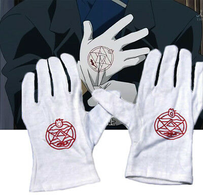 "Anime Fullmetal Alchemist Colonel Roy Cotton Full Finger Cosplay Gloves 9"" White"