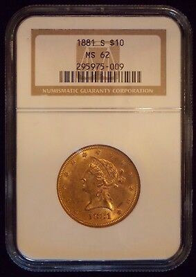 1881-S Ngc Ms-62 $10 Liberty - Pcgs Highest Grade Is Ms 63! - This Is Old Holder