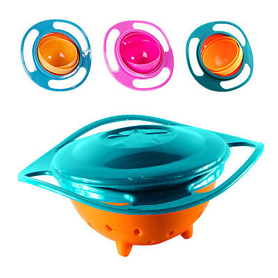 360 Rotating Toddler Infant Gyro Bowl Non Spill Feeding Baby Kids Avoid Spilling