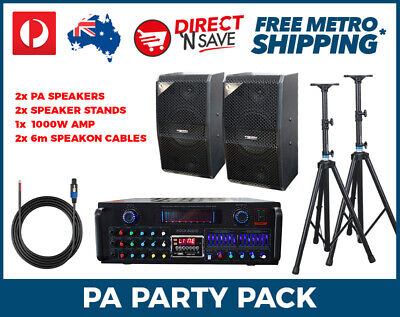 PA PARTY PACK 2x PA Speakers 2x Stands 10m Speakon Cables 6 Channel Mixer 400W