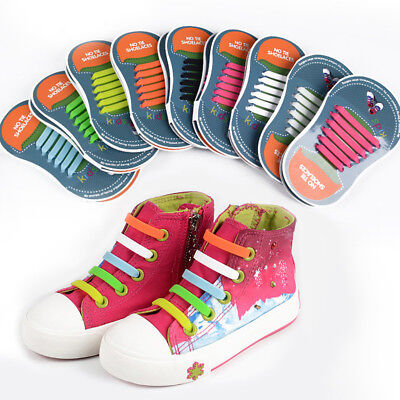 Colored No Tie Elastic Shoe Laces Waterproof Silicone Trainers Kids Shoelaces