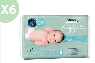 NEW Mater Newborn First Weeks Nappies 24's Size 0 Up To 3.5kg X6