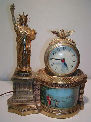 """Rare Vintage STATUE OF LIBERTY """"United"""" MOTION CLOCK, Works Well, None on Ebay"""