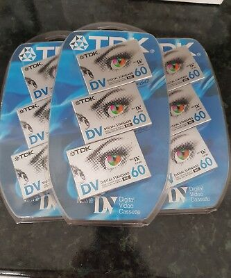 Set of 9 TDK Mini DV 60 Camcorder Tapes New In pack