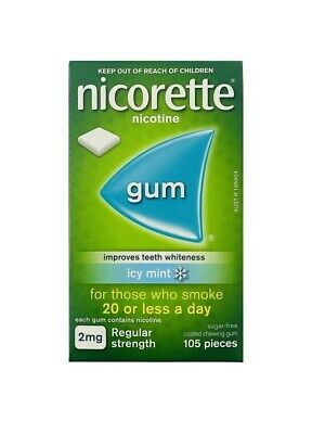 New Nicorette Regular Strength 2mg Chewing Gum Icy Mint 105