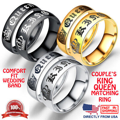 a7d96364f3 Couple's Matching Ring His or Her King Queen Stainless Steel Wedding Band