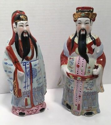Vintage Chinese Porcelain Two God/ Sanxing Fu Lu Shou Statues